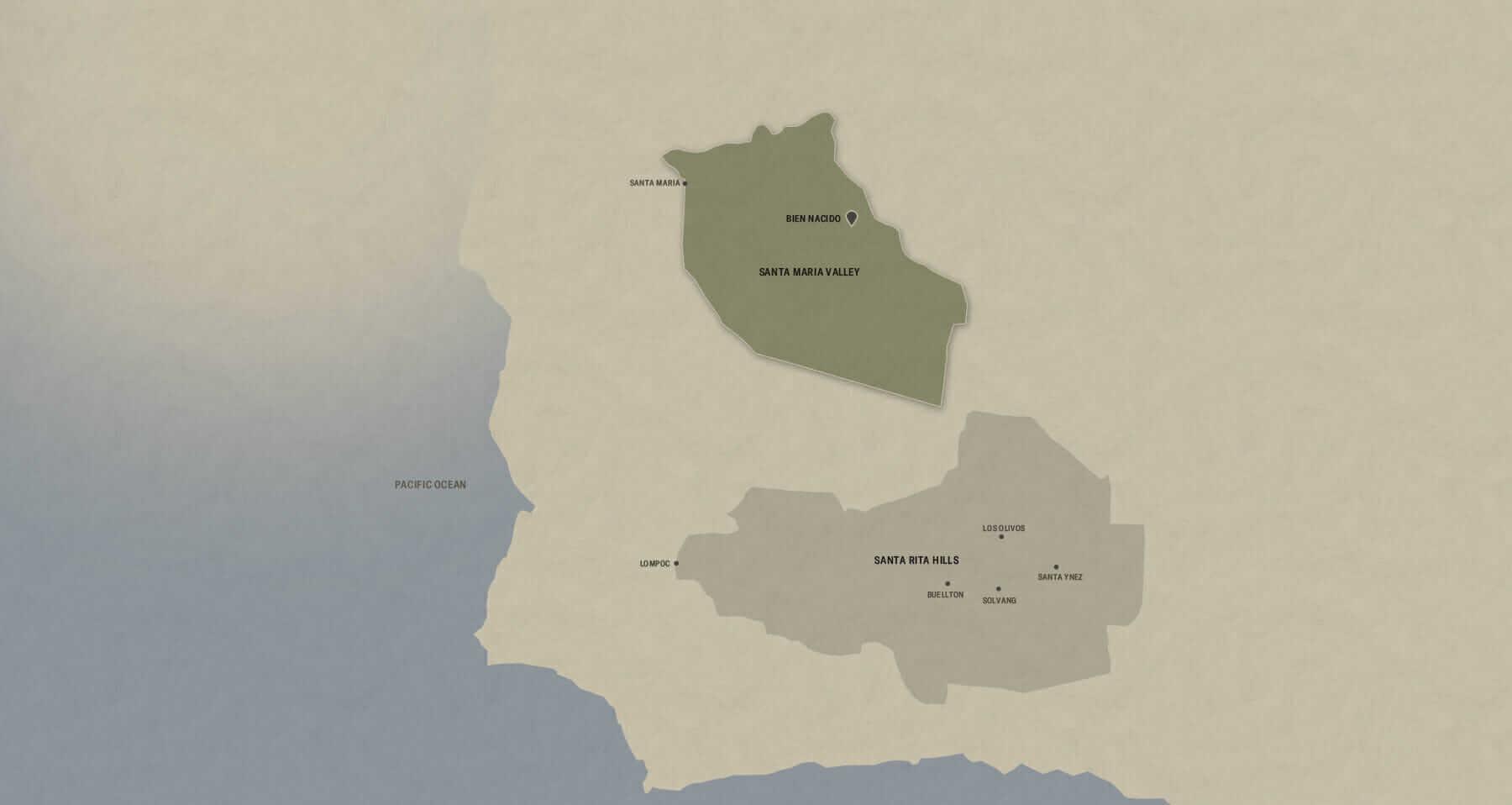 Map of Santa Barbara County AVA with the Santa Maria Valley sub AVA highlighted