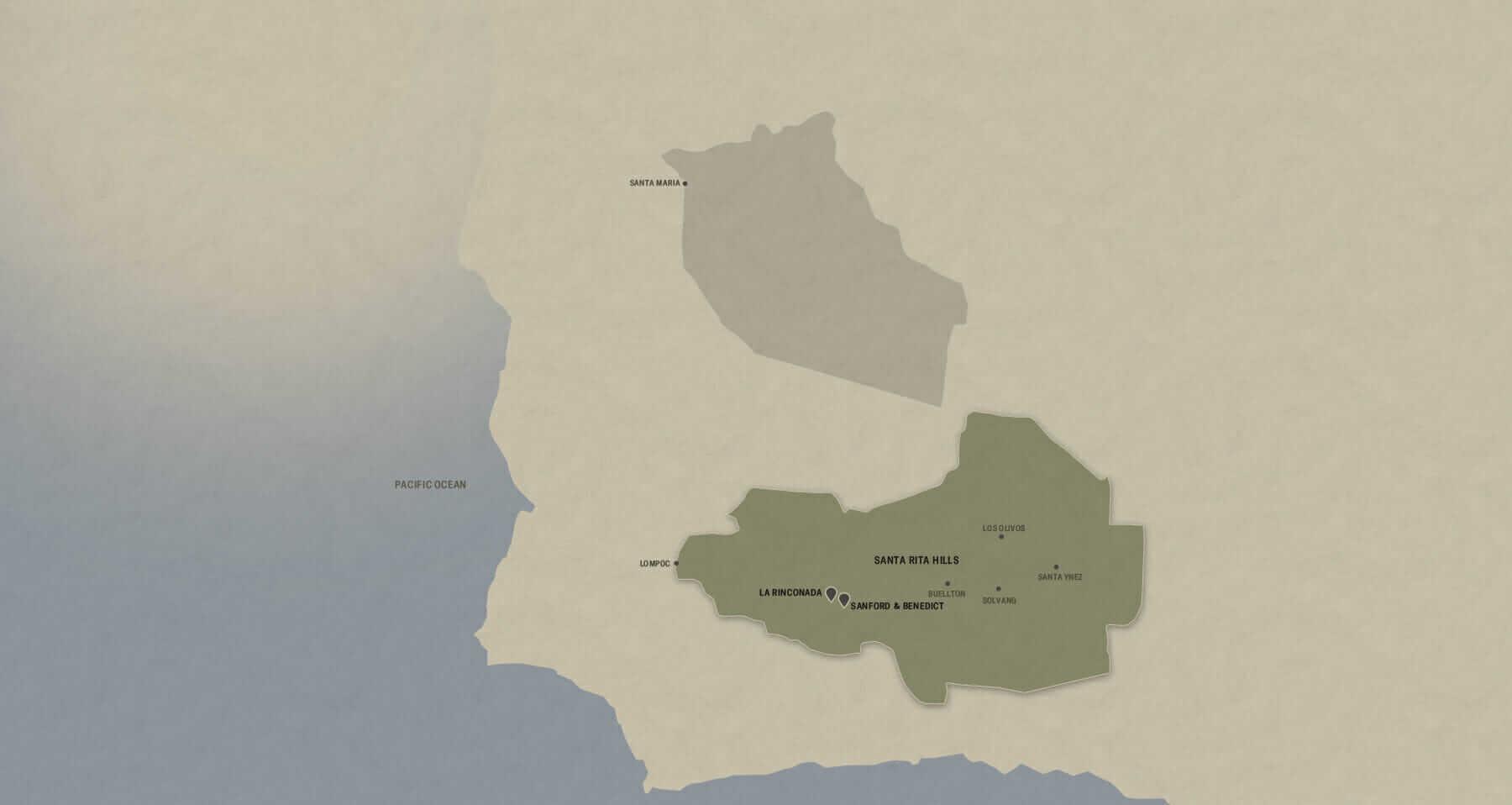 Map of Santa Barbara County AVA with the Santa Rita Hills sub AVA highlighted